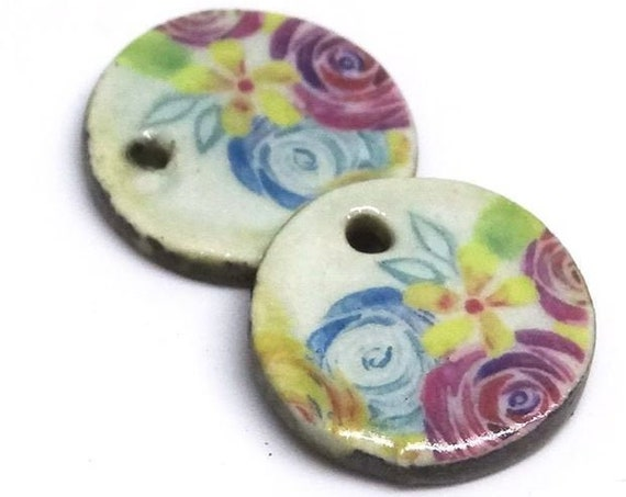Ceramic Floral Flower Earring Charms Pair Beads Handmade Rustic