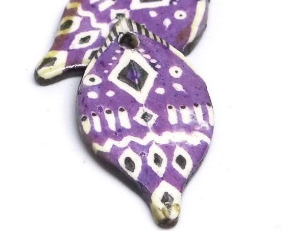Ceramic Leaf Leaves Tribal Earring Charms Pair Beads Handmade Rustic Purple