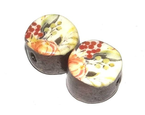 Ceramic Floral Bead Pair Set Porcelain Handmade Pottery Beads