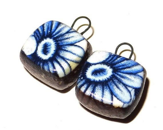 Ceramic Earring Charms Pair Beads Handmade Rustic