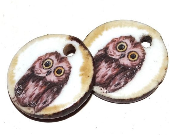 Ceramic Owl Earring Charms Pair Beads Handmade Rustic