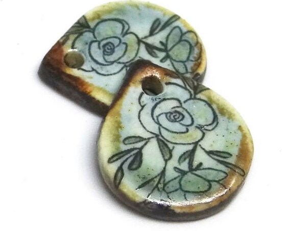 Ceramic Floral Flower Earring Charms Pair Beads Handmade Rustic Blue