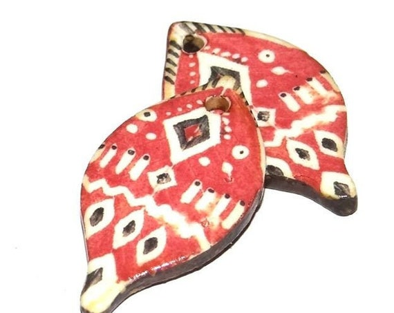 Ceramic Leaf Leaves Tribal Earring Charms Pair Beads Handmade Rustic Red