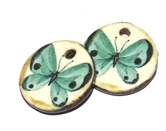 Ceramic Butterfly Charms Pair Porcelain Handmade