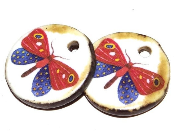 CeramicButterfly Earring Charms Pair Beads Handmade Rustic