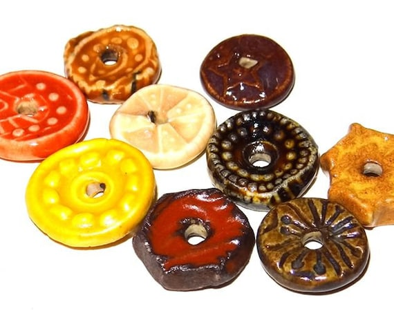 Ceramic Disk Bead Set Stoneware Handmade Pottery Beads Rustic Red Brown Rust Brown