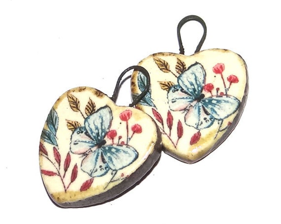 Ceramic Butterfly Heart Charms Pair Porcelain