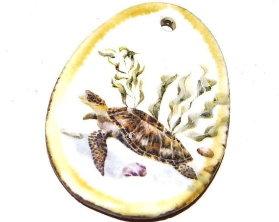 Ceramic Turtle Pendant Porcelain Handmade Ocean Turtle Marine Sea