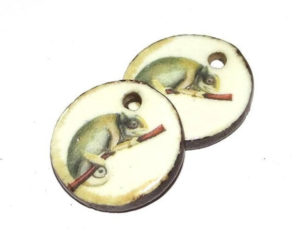 Ceramic Chameleon Earring Charms Pair Handmade Porcelain