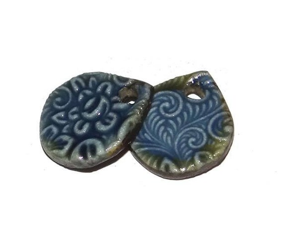 Ceramic Earring Charms Pair Handmade Rustic Blue
