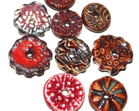 Ceramic Disk Bead Set Stoneware Handmade Pottery Beads Rustic Red Rust Brown