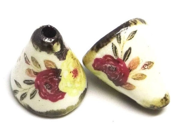 Ceramic Bloom Bell Earring Cone Charms Pair Floral Rustic Handmade Porcelain