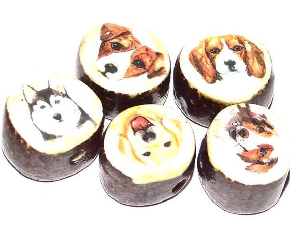 Ceramic Dog Bead Set Porcelain Handmade Pottery Beads