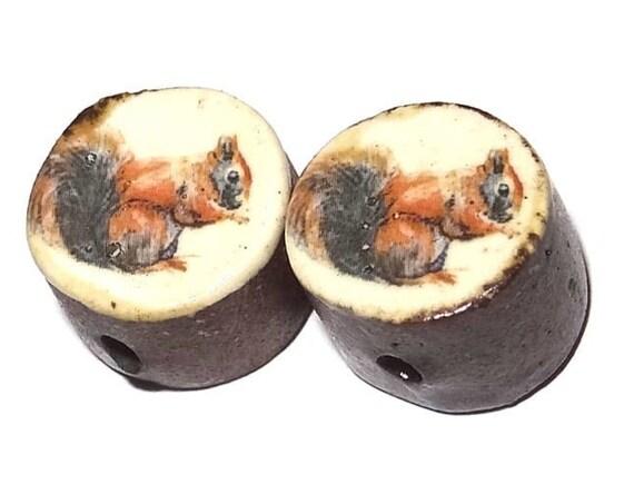 Ceramic Squirrel Bead Set Pair Inspirational Nature
