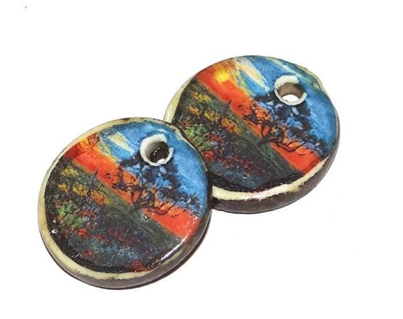 Ceramic Landscape Sunset Earring Charms Pair Handmade Porcelain