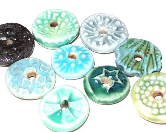 Ceramic Disk Bead Set Stoneware Handmade Pottery Beads Rustic Blue Aqua