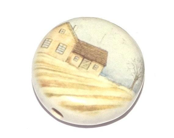 Ceramic Farm House Fields Focal Bead Handmade Pottery Beads
