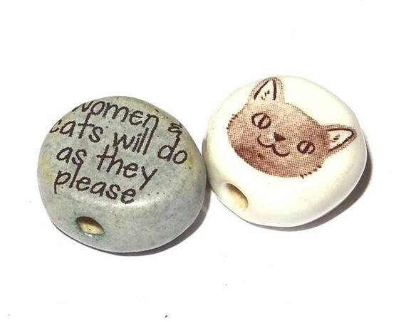 Ceramic Cat Quote Beads Handmade Porcelain