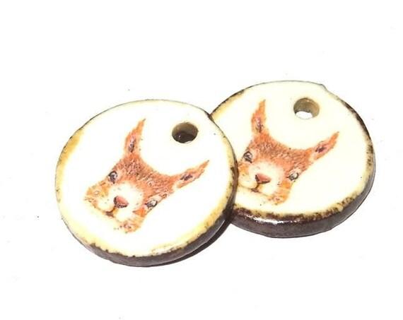 Ceramic Squirrel Earring Charms Pair Handmade Rustic