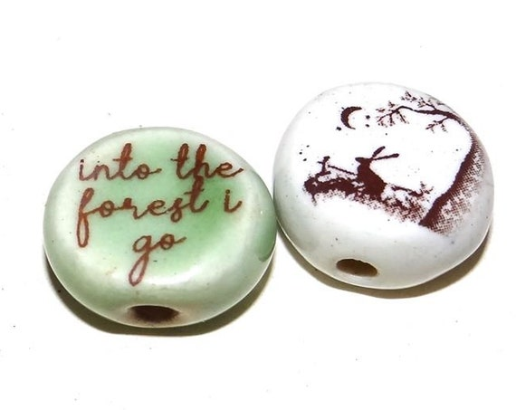 Ceramic Quote Bead Set Tree Hare Rustic Rabbit Moon Forest