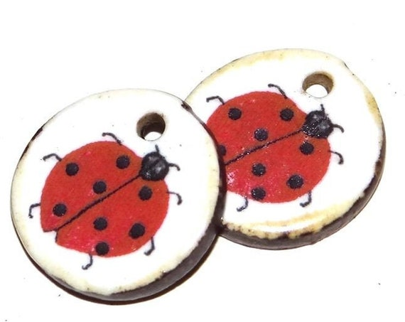 Ceramic Ladybug Ladybird Earring Charms Pair Beads Handmade Rustic Nature