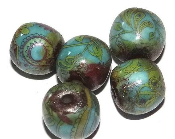 Ceramic Paisley Beads Handmade Porcelain Turquoise