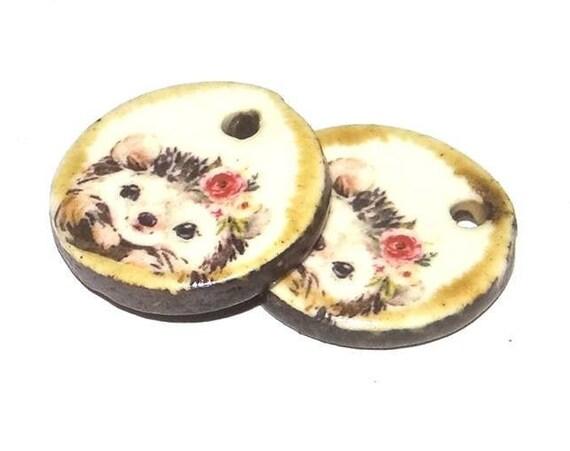 Ceramic Hedgehog Earring Charms Pair Handmade Porcelain