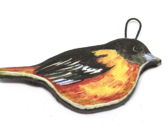 Ceramic Finch Bird Pendant Handmade Focal