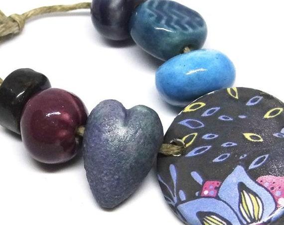 Ceramic Bead Set & Pendant Rustic Word Floral Purple
