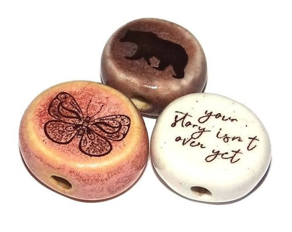Ceramic Quote Bead Set Message Aspiration Nature Wildlife Inspirational Motivational