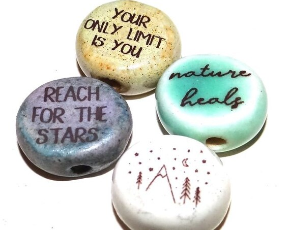 Ceramic Quote Bead Set Message Aspiration Inspirational Nature Wildlife Freedom