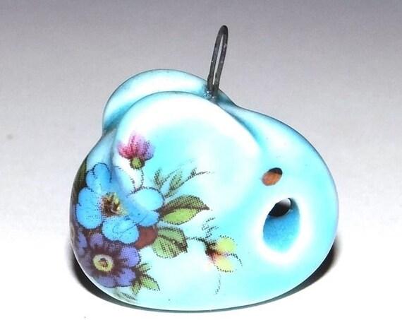 Ceramic Elephant Pendant Handmade Porcelain Floral Flower