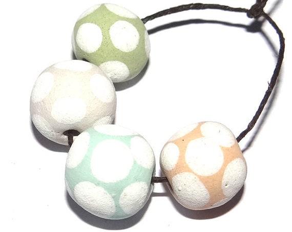 Handmade Ceramic Beads Dotty Spotty Porcelain