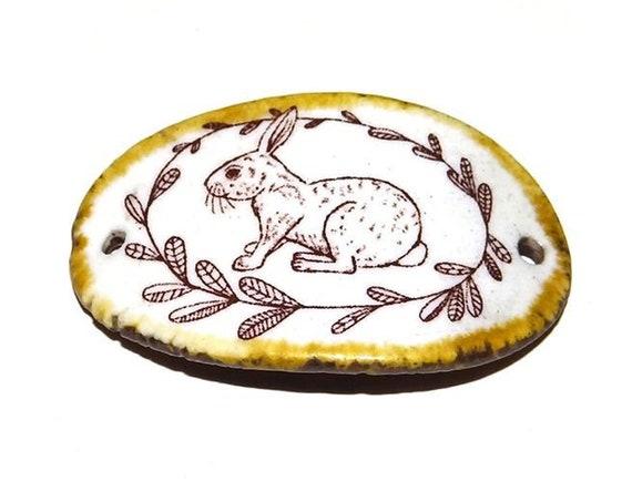 Ceramic Rabbit Hare Bracelet Bar Components Handmade Cuff Porcelain