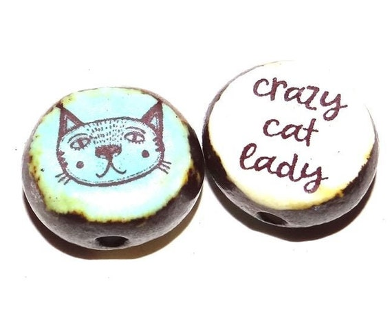 1 Ceramic Double Sided Cat Quote Bead Porcelain Handmade