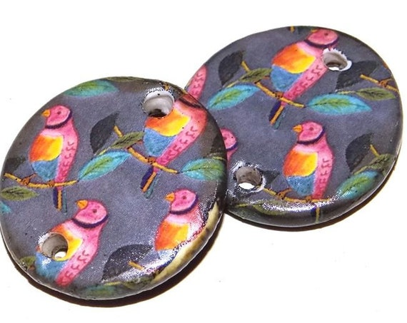 Ceramic Bird Earring Charms Pair Beads Handmade Rustic Love Birds