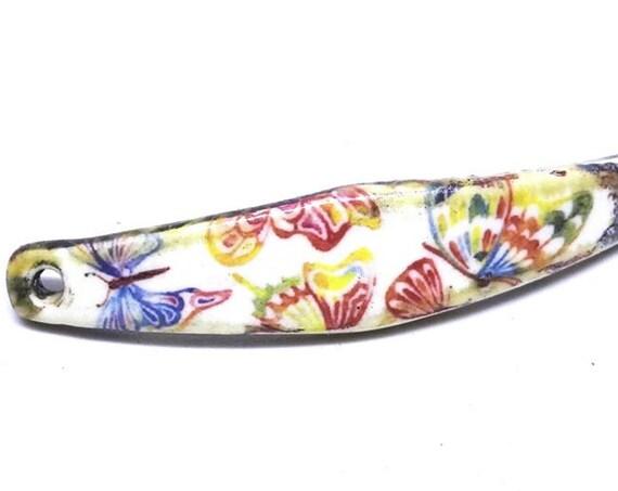 Ceramic Bracelet Bar Cuff Floral Handmade Porcelain Butterflies
