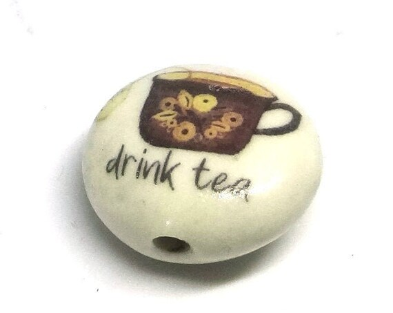 1 Ceramic Drink Tea Bead Porcelain Handmade