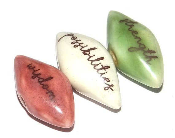 Ceramic Word Bead Set Pointy Beads Handmade Inspiration Message Beads