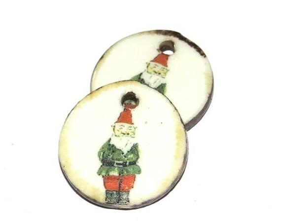 Ceramic Gnome Elf Earring Charms Pair  Handmade Gardener Gardening
