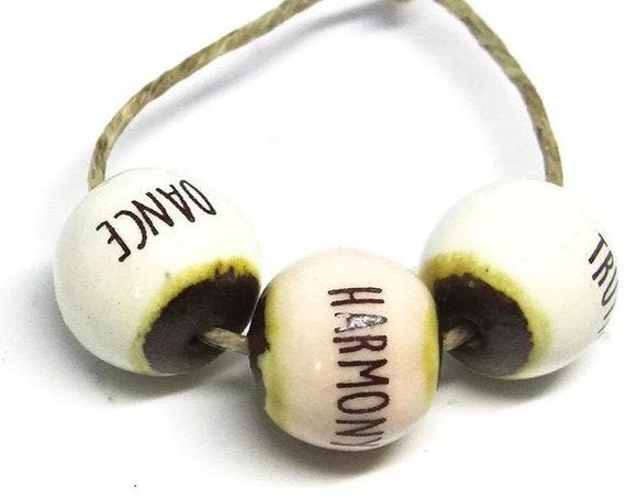 Ceramic Quote Bead Set Pink White Beads Handmade Truth Harmony Dance