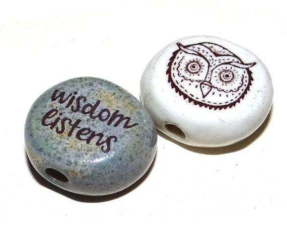 Ceramic Quote Bead Set Message Aspiration Inspirational Motivational Owl Beads Birds Wisdom