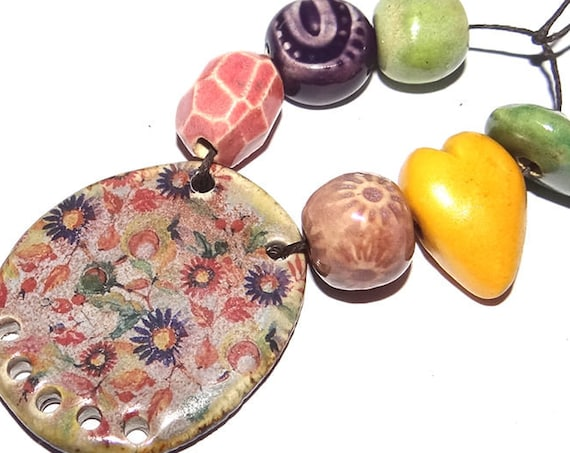 Ceramic Textured Bead Set & Pendant Porcelain Handmade Pottery Beads Rustic Rust Orange Brown Coral