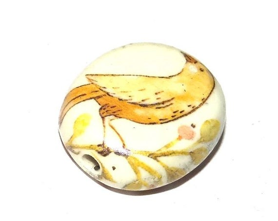 Large Ceramic Bird Focal Bead 30mm Porcelain