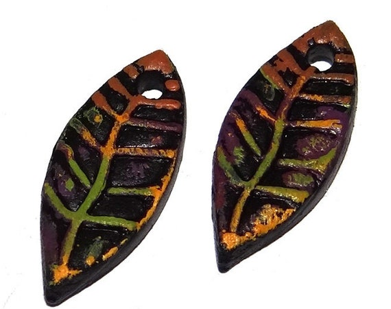 Ceramic Earring Charms Colourfully Rustic Textured Handmade Painted Leaf Autumn Fall