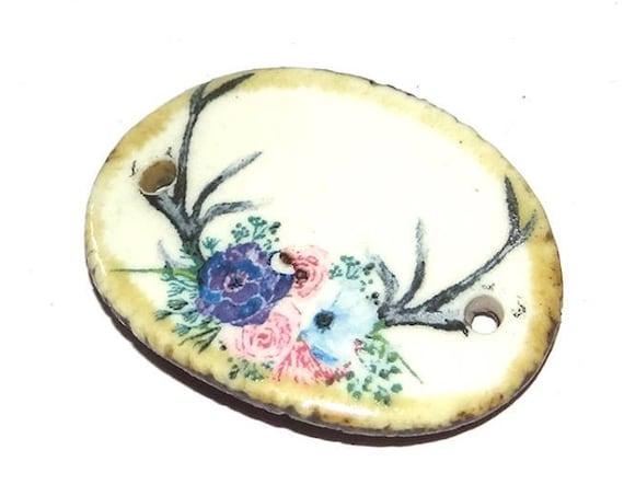 Ceramic Bracelet Bar Cuff Deer Stag Horns Floral Handmade Porcelain