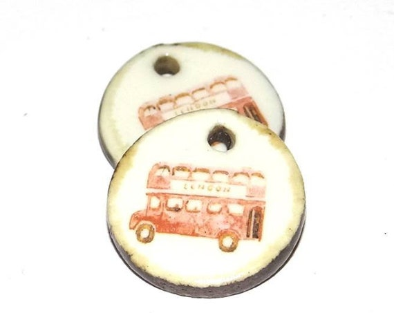 Ceramic Red Bus London  Earring Charms Pair  Handmade Porcelain