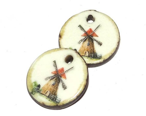 Ceramic Earring Charms Pair Rustic Stoneware Pottery Windmill