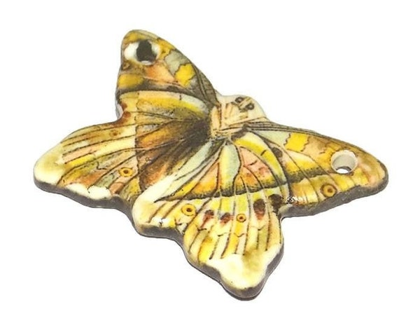 Ceramic Pendant Butterfly Handmade Porcelain Pottery Floral