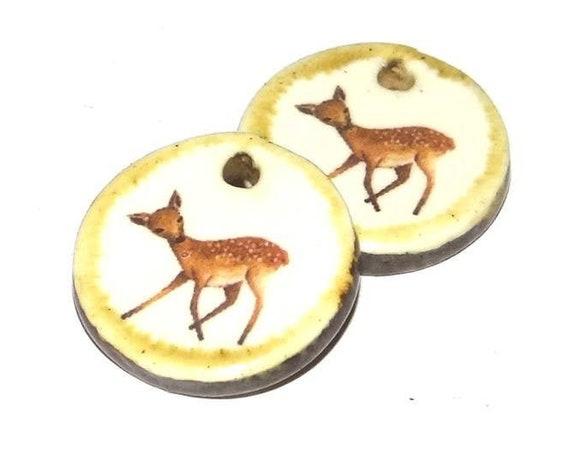 Ceramic Fawn Deer Earring Charms Pair Handmade Porcelain